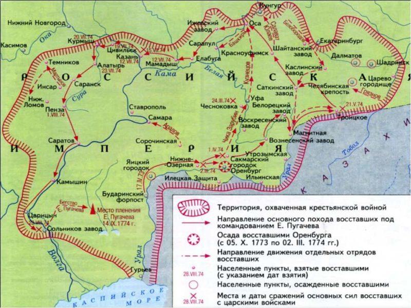 Рис. 4. Карта действий отрядов восставших и правительственных войск