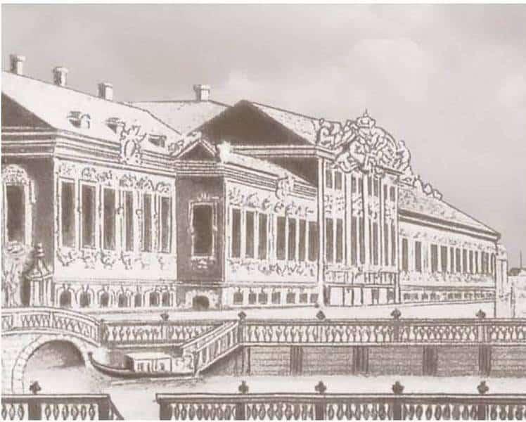 Рис. 1. Рисунок деревянного Зимнего дворца Екатерины