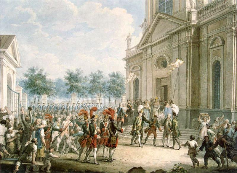 Рис. 2. Екатерина II на ступенях Казанского собора, приветствует гвардию и горожан