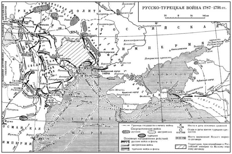 Рис. 6. Русско-турецкая война 1787-1791 гг. Карта боевых действий
