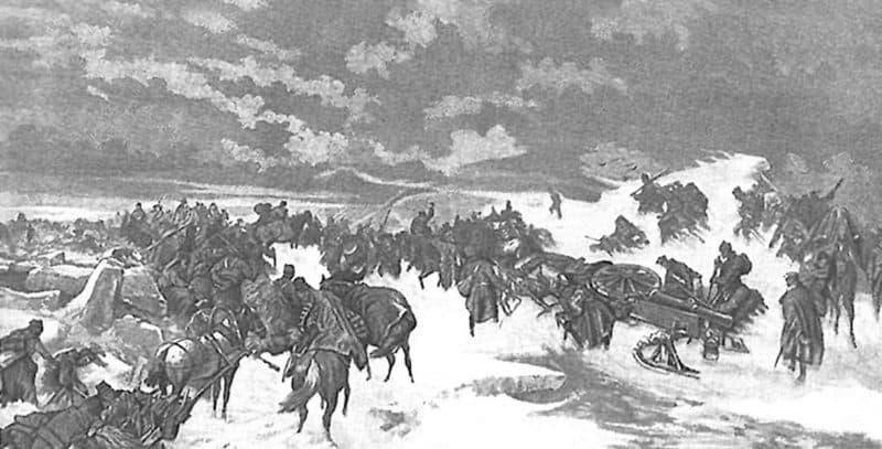 Рис. 3. Переход русских войск через Ботнический залив в 1809 году