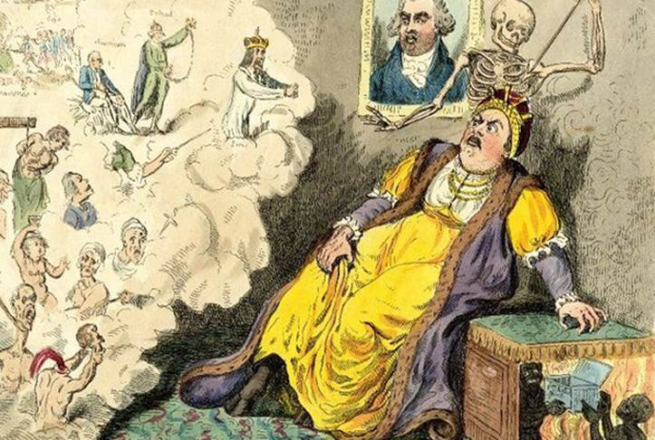 Рис 4. Карикатура английского рисовальщика Крукшенка «Смерть Екатерины II в уборной»