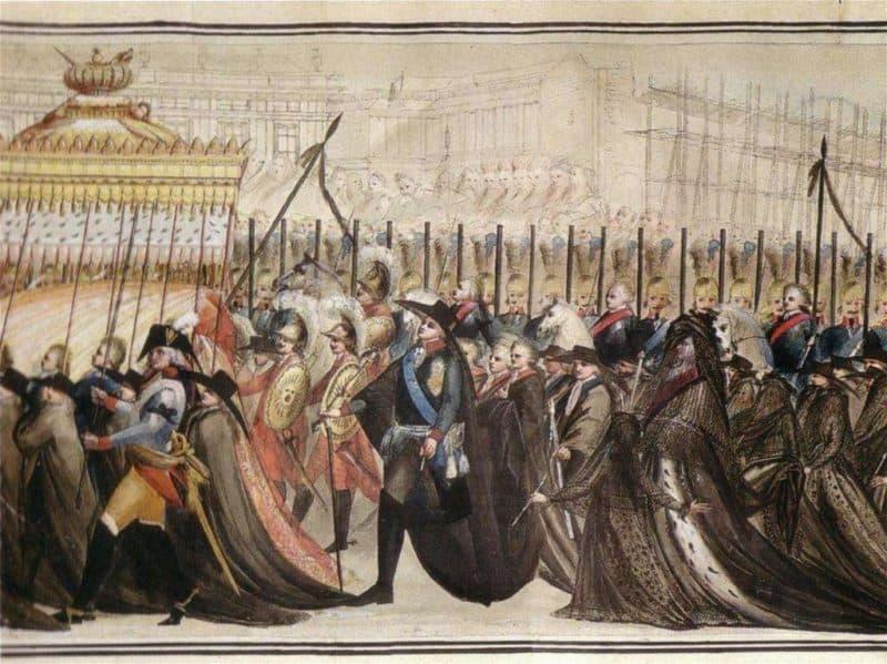 Рис. 1. Похороны Екатерины II и Петра III, рисунок
