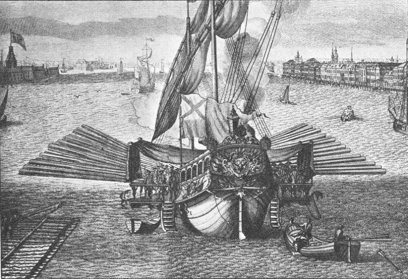 Рис. 1. Русский Балтийский гребной флот середины 18-го века
