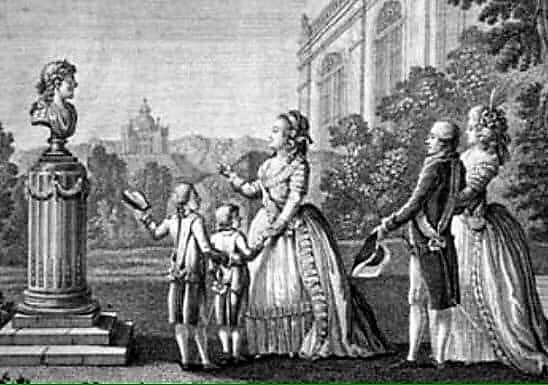 Екатерина Великая на прогулке с внуками.