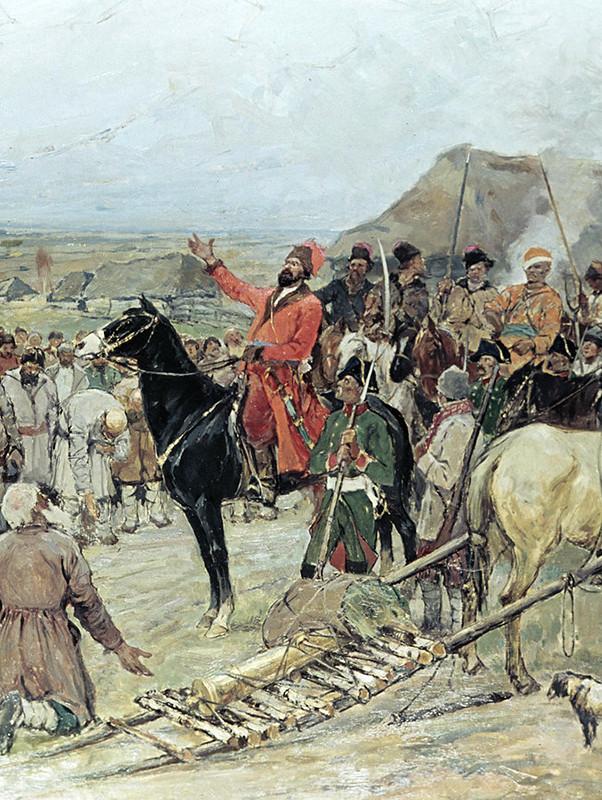 Емельян подбивает к бунту крестьян.