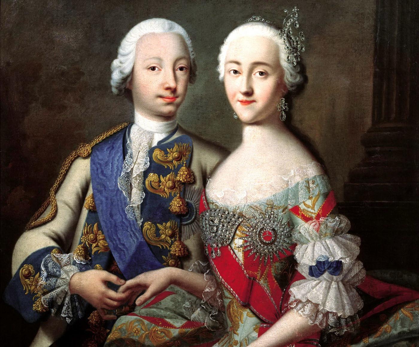 Петр с супругой Екатериной