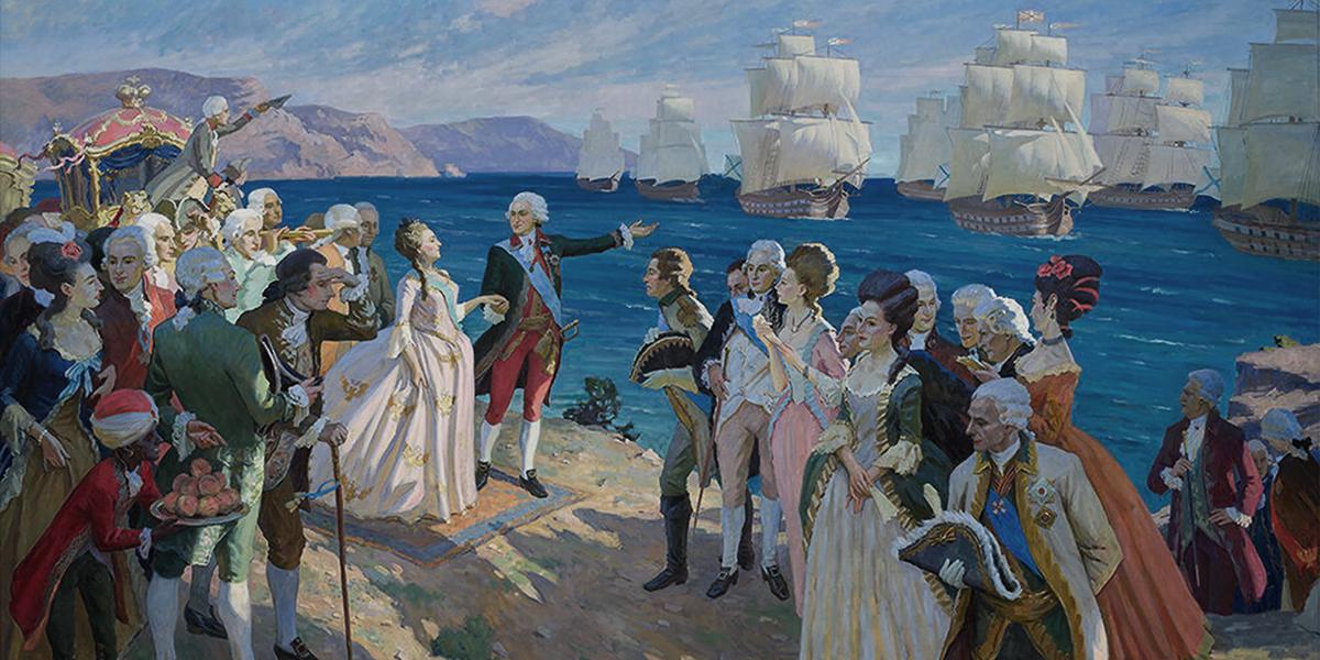 Осмотр фрегатов в Крыму.