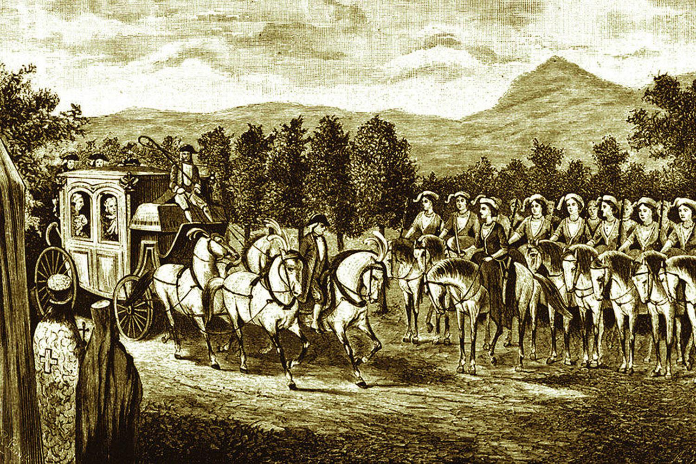 Женская амазонская рота встречает императрицу.